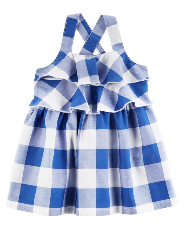 Vestido CARTERS Checkered Ruffle Dress