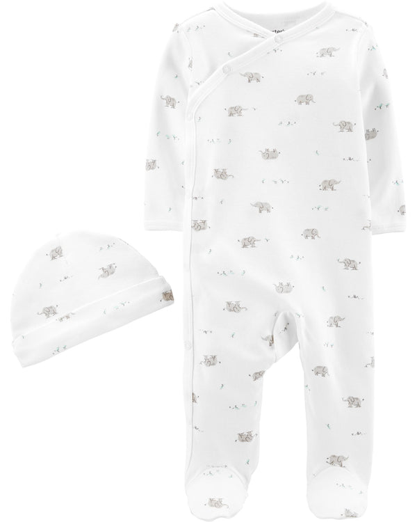 Enterito CARTERS 2-Piece Cap & Side-Snap Sleep & Play Set