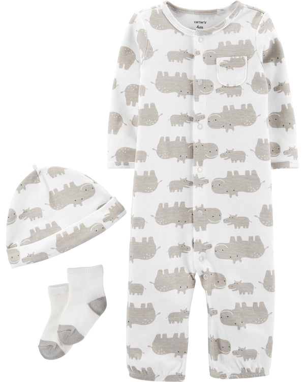 Conjunto CARTERS 3-Piece Hippo Take-Me-Home Set