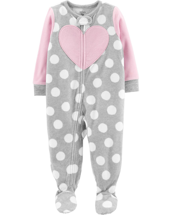 Pijama CARTERS 1-Piece Heart Fleece Footie PJs