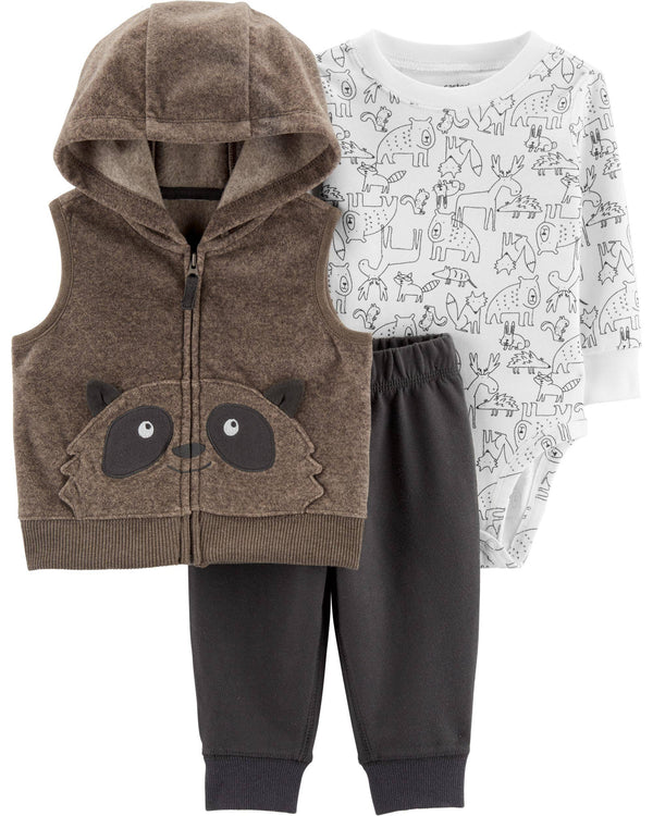 Conjunto CARTERS 3-Piece Raccoon Little Vest Set
