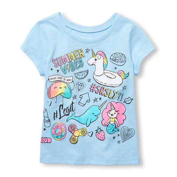 Remera THE CHILDRENS PLACE 'Summer Vibes' Doodle Graphic Tee