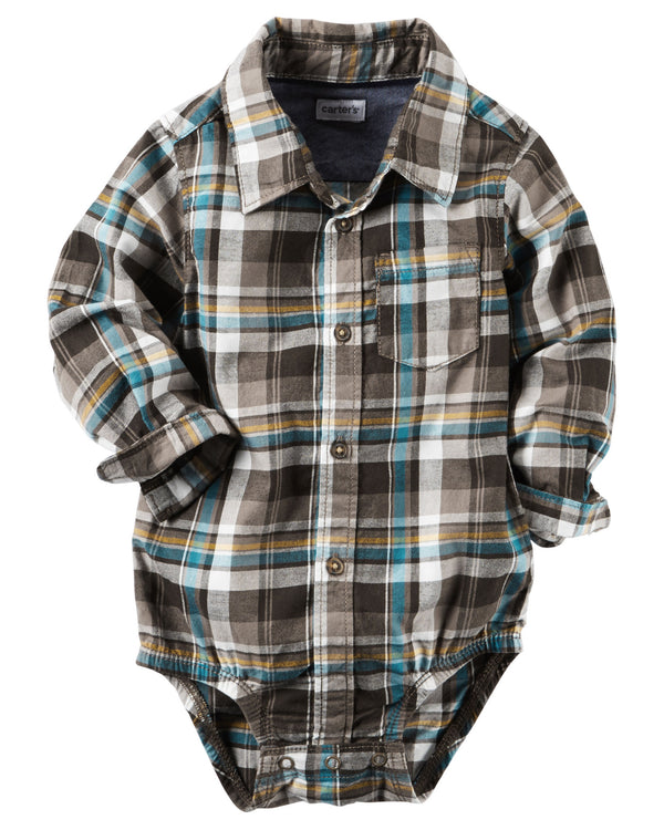 Camisa Body CARTERS Plaid Button-Front Bodysuit