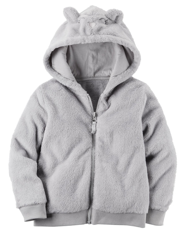 Campera CARTERS Fuzzy Mouse Zip-Up Hoodie