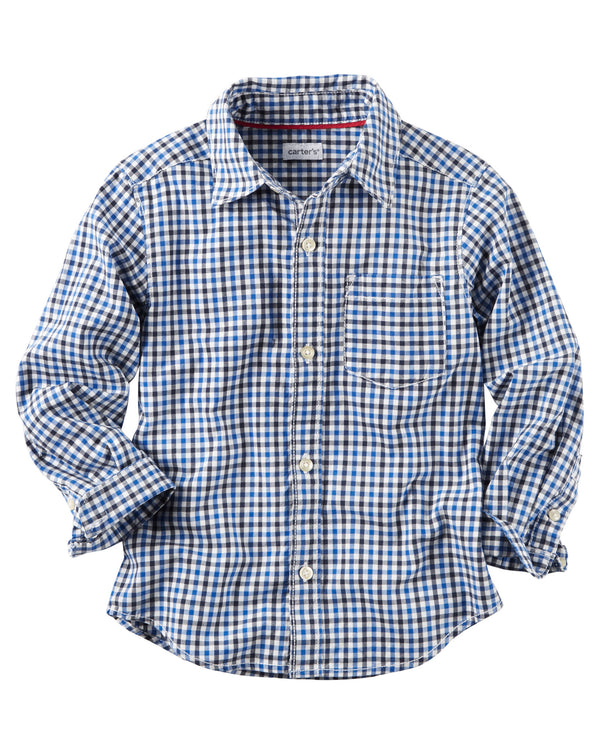 Camisa CARTERS Poplin Checkered Button-Front Shirt