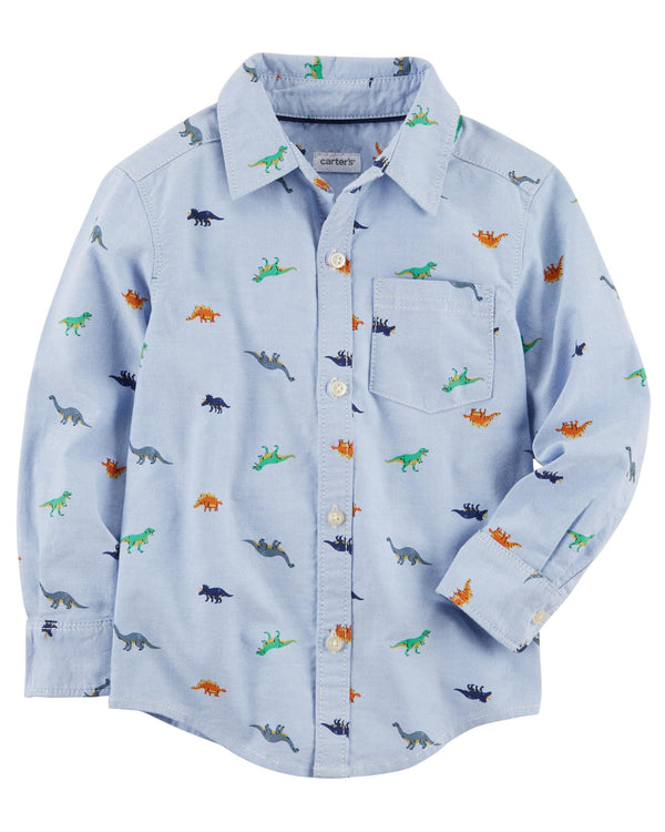Camisa CARTERS Dinosaur Oxford Button-Front Shirt