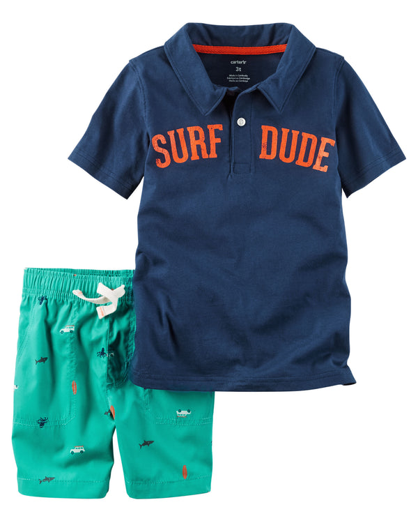 Conjunto CARTERS 2-Piece Surf Dude Polo & Poplin Short Set