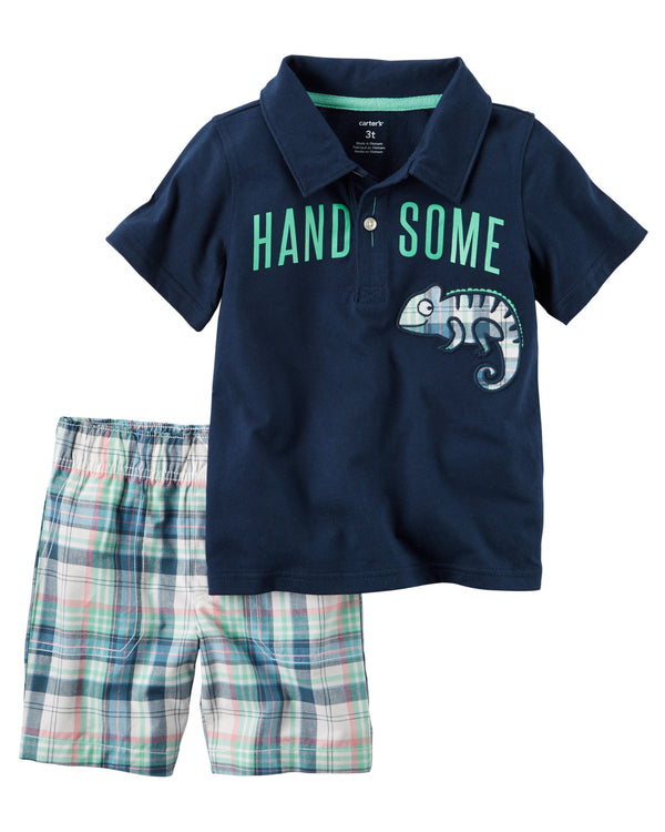 Conjunto CARTERS 2-Piece Handsome Polo & Plaid Short Set
