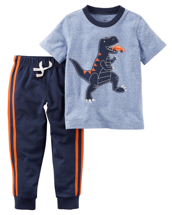 Conjunto CARTERS 2-Piece Dinosaur Graphic Tee & French Terry Jogger Set