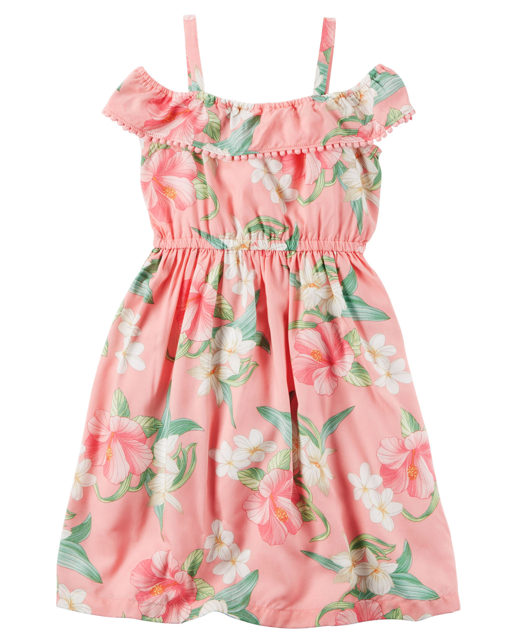 Vestido CARTERS Floral Pom-Pom Ruffle Dress
