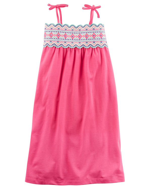 Vestido CARTERS Jersey Embroidered Maxi Tie Dress