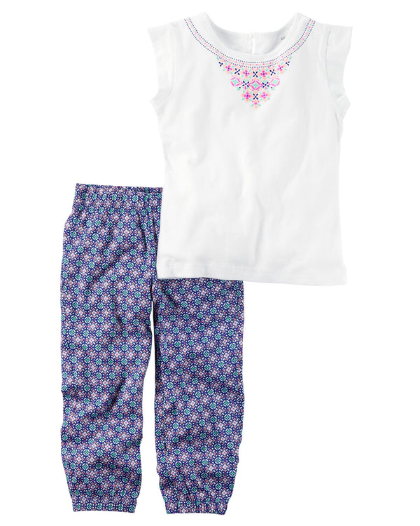 Conjunto CARTERS 2-Piece Open-Back Top & Printed Jogger Set