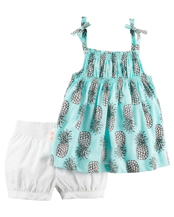 Conjunto CARTERS 2-Piece Pineapple Tie Tank & Bubble Short Set