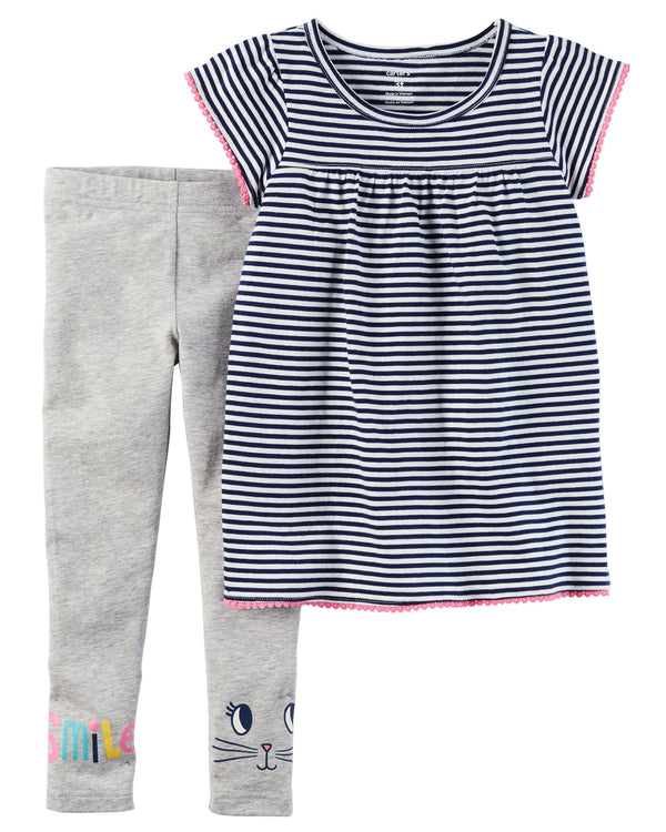 Conjunto CARTERS 2-Piece Striped Tunic & Legging Set