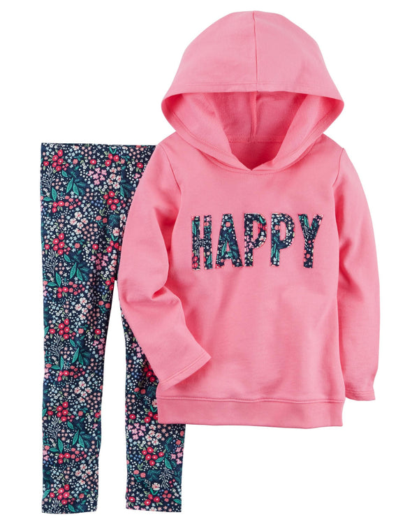 Conjunto CARTERS 2-Piece French Terry Hoodie & Floral Legging Set