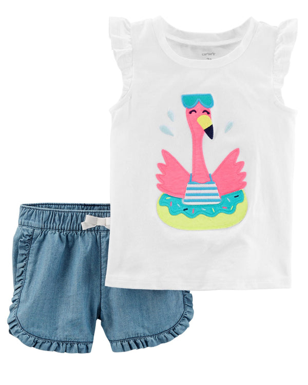 Conjunto CARTERS 2-Piece Flamingo Flutter-Sleeve Top & Denim Short Set