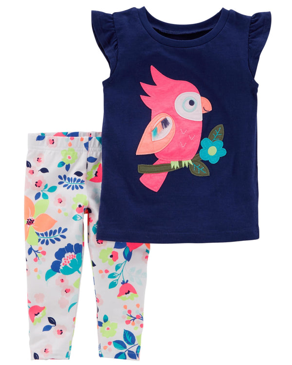 Conjunto CARTERS 2-Piece Owl Flutter-Sleeve Top & Floral Capri Legging Set