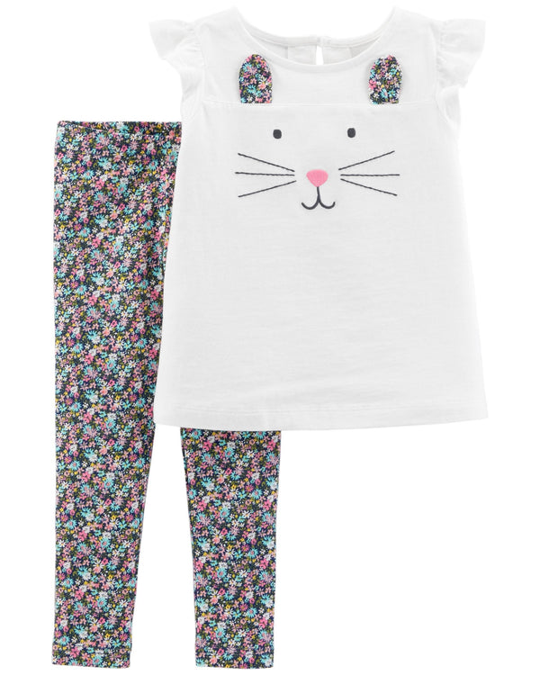 Conjunto CARTERS 2-Piece Bunny Top & Floral Legging Set