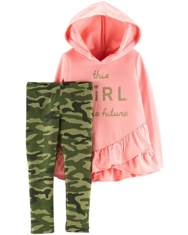 Conjunto CARTERS 2-Piece French Terry Hoodie & Camo Legging Set