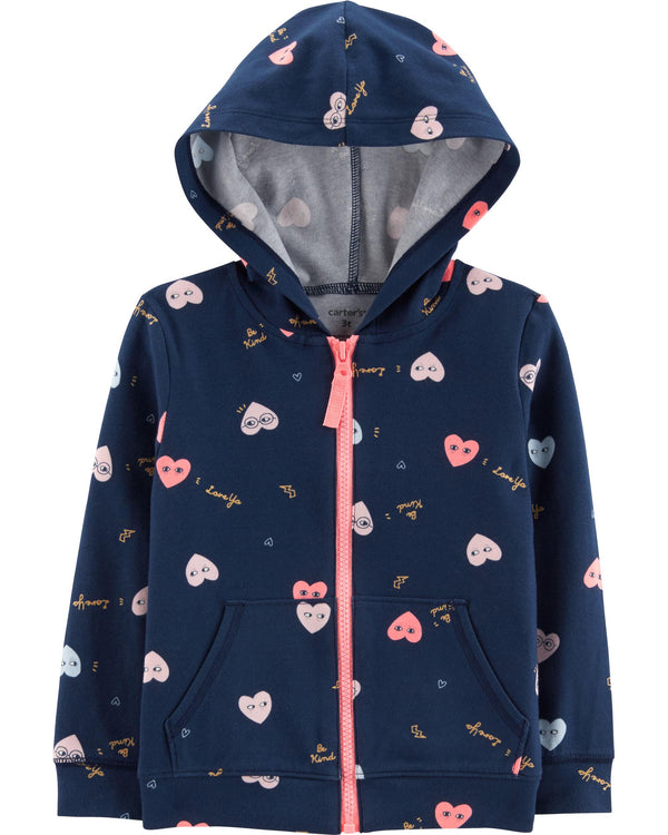 Campera Buzo CARTERS Heart Zip-Up Lounge Hoodie