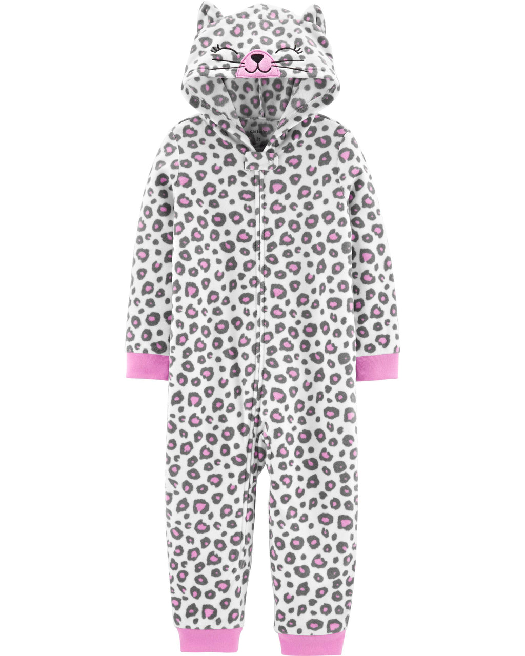 Pijama CARTERS 1-Piece Leopard Cat Hooded Fleece Footless PJs Micropolar