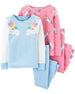 Pack de pijamas CARTERS 4-Piece Unicorn Snug Fit Cotton PJs