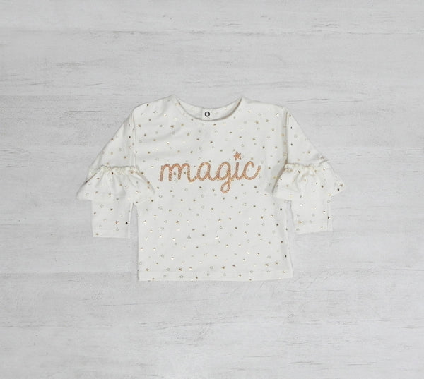 Remera Magic Strar Gliter manga largas con volados Crayón
