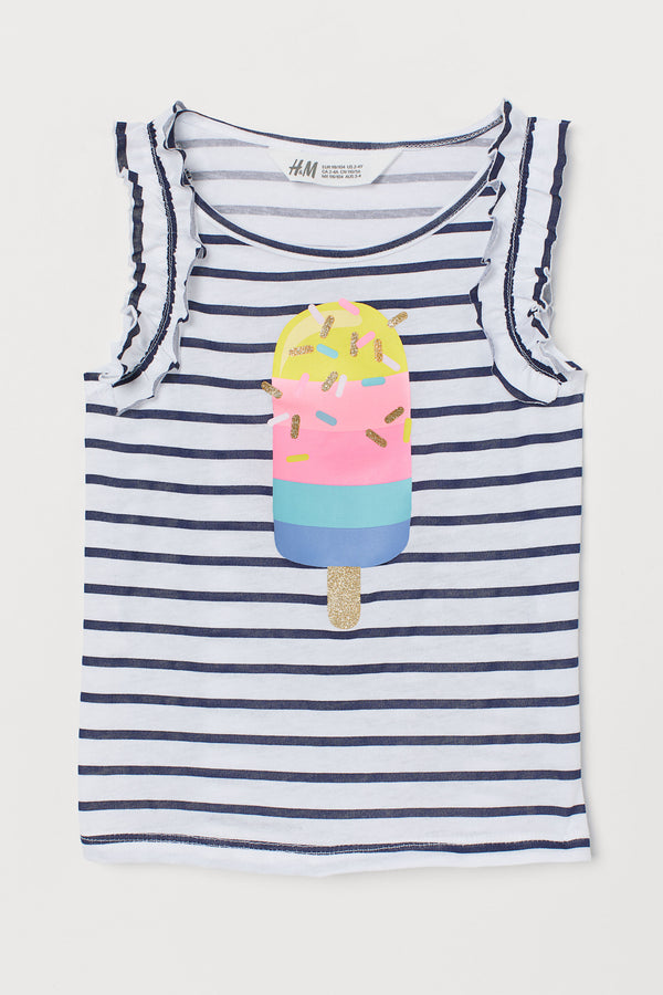 Musculosa H&M Jersey Top with Printed Design