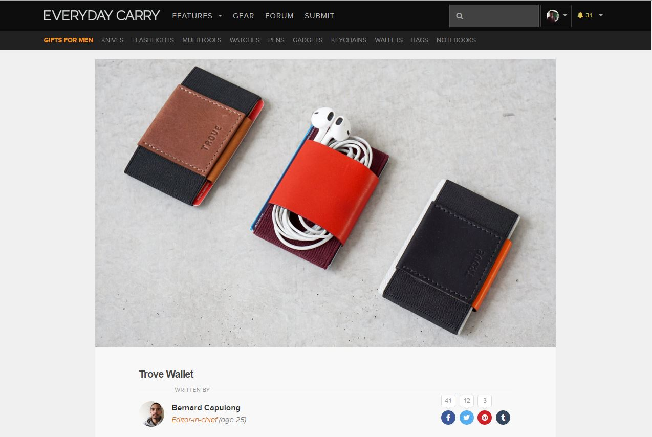 everydaycarry.com review of TROVE wallet