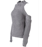 Heather Knitwear Off Shoulder Sweater Top
