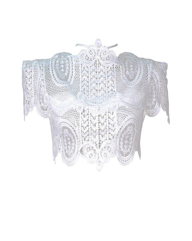 Abigail Lace Cropped Top (White)