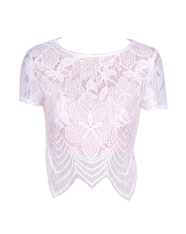 Jackie Vintage Lace Crop Top