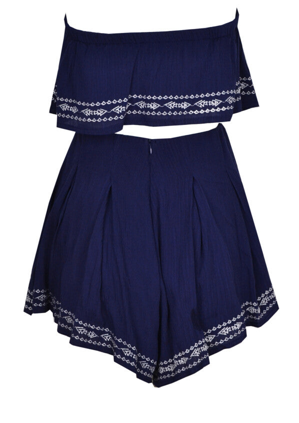 Nautical Two Piece Romper Set (Navy Blue)