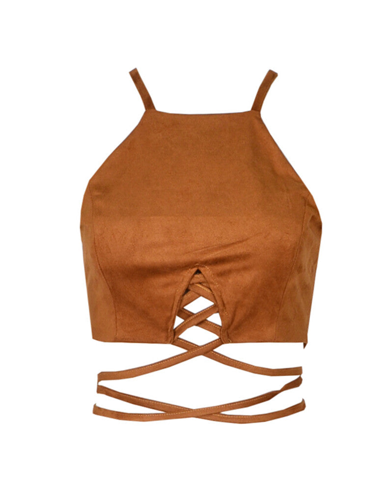 Isla Cropped Top (Suede)