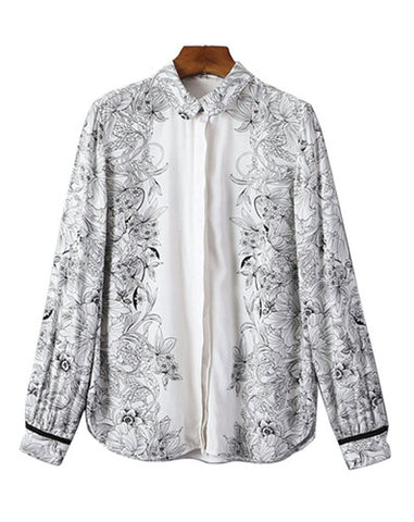 Floral Sketches Long Sleeve Blouse Top