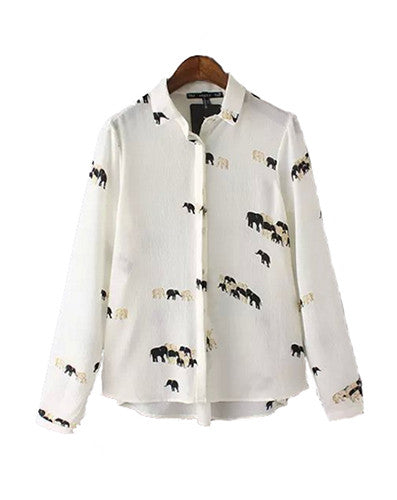 Elephant Herd Long Sleeved Blouse Top