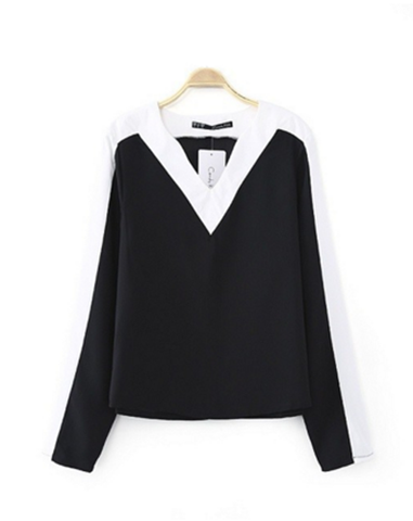 Basic V Monochrome Blouse Top