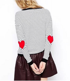 Elbow Hearts Knitted Pullover Top