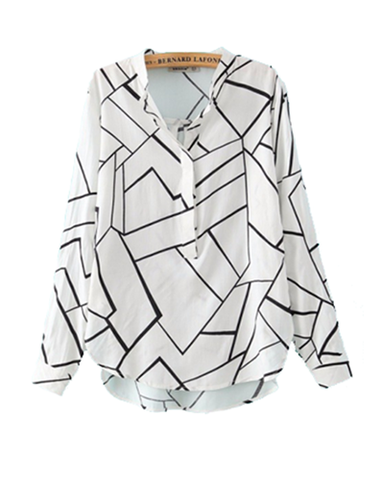 Geo Map Blouse Top