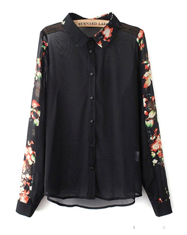 Black Blossoms Blouse Top