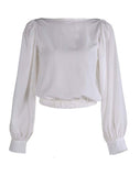 Classic Cropped Balloon Top (White)