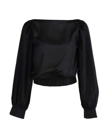 Classic Cropped Balloon Top (Black)