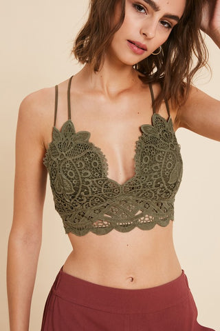 The Doily Lace Bralette - Olive