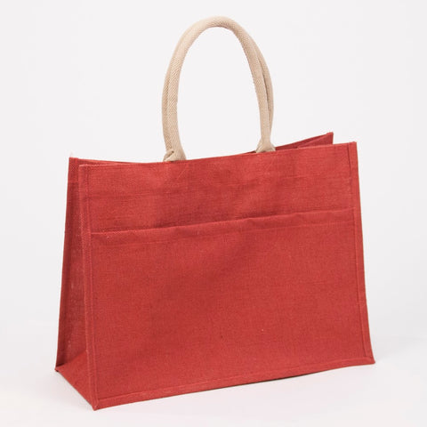 The Jute Pocket Tote - Red