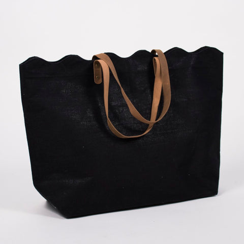 Scallop Jute Tote Bag