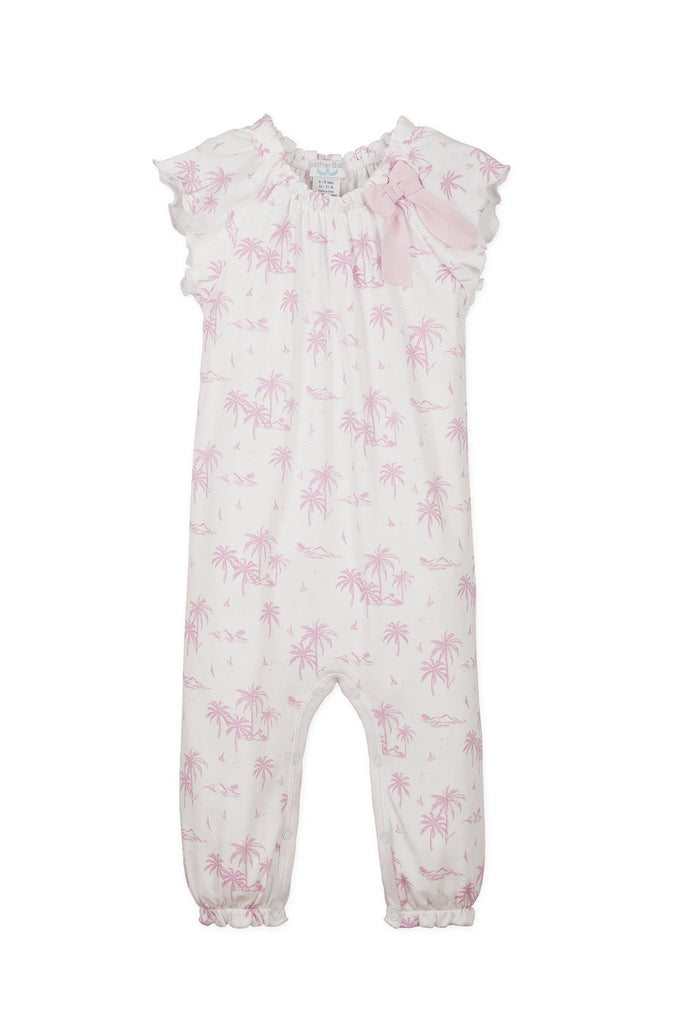 Bow Romper - Hawaii Pink on White