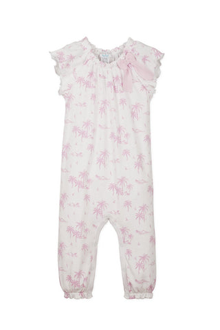 Bow Romper - Hawaii Pink on White -O