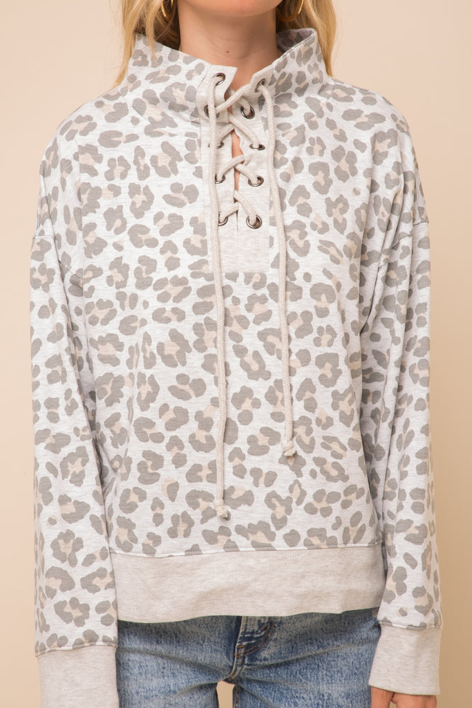 Laced up Leopard Pullover