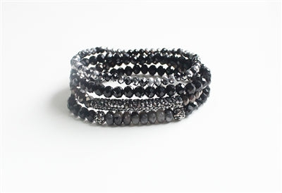 Stack It Bracelet - Black Crystal