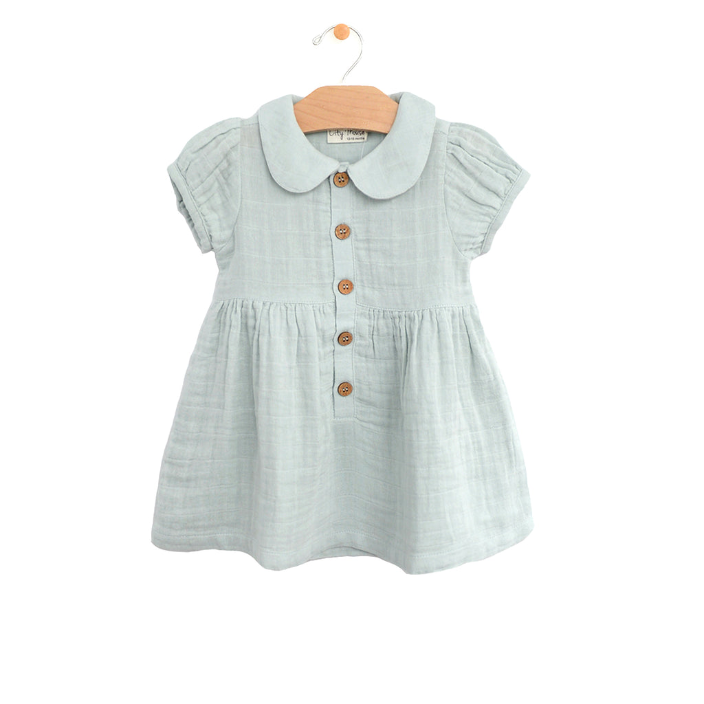 Muslin Button Dress - Sky
